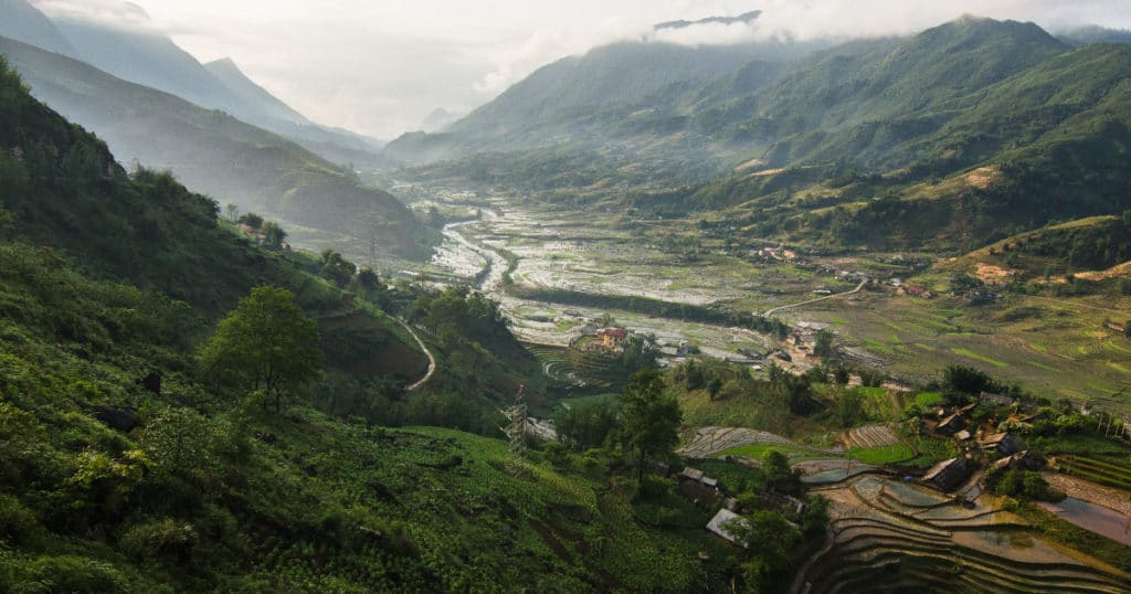 Scenic rice terraces and mountains found when trekking in Northern Vietnam with Discova