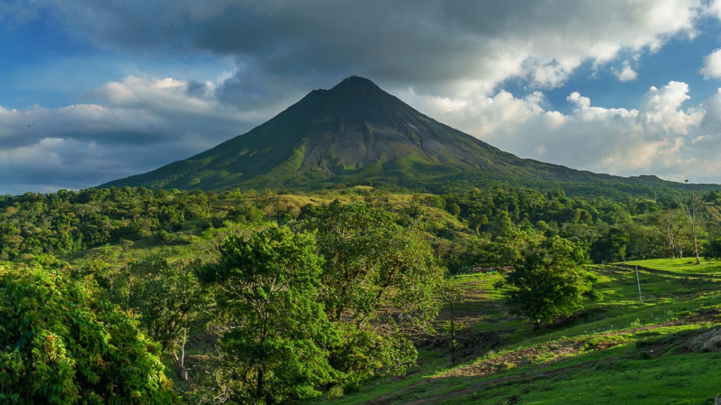 view of arenal volcano in costa rica - sustainable tourism
